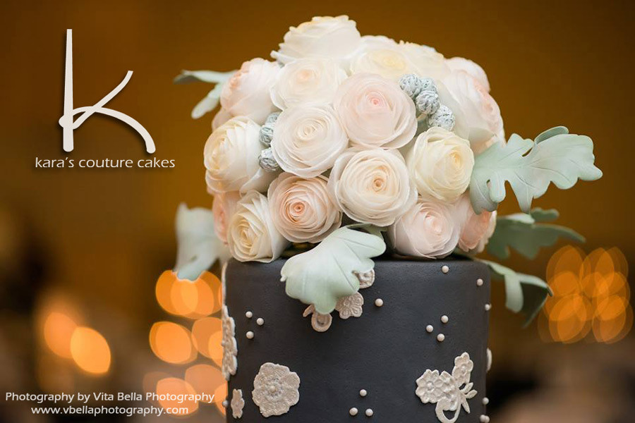 Wafer Paper Flower Cake by Kara's Couture Cakes
