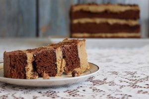 Chocolate Cake with Pecans and Caramel