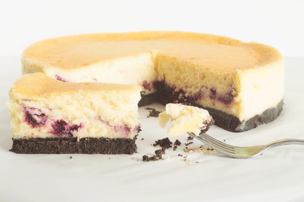 """Kara's Perfect Cheesecake Recipe. Learn how to make this easy cheesecake recipe with 6 simple ingredients and my """"jiggling"""" trick! Watch the live step-by-step video to create your own delicious cheesecake!"""