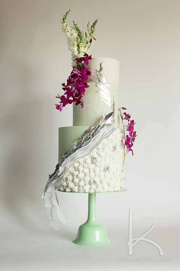 Mint, Silver, and Orchids Wedding Cake for Sarah's Stands