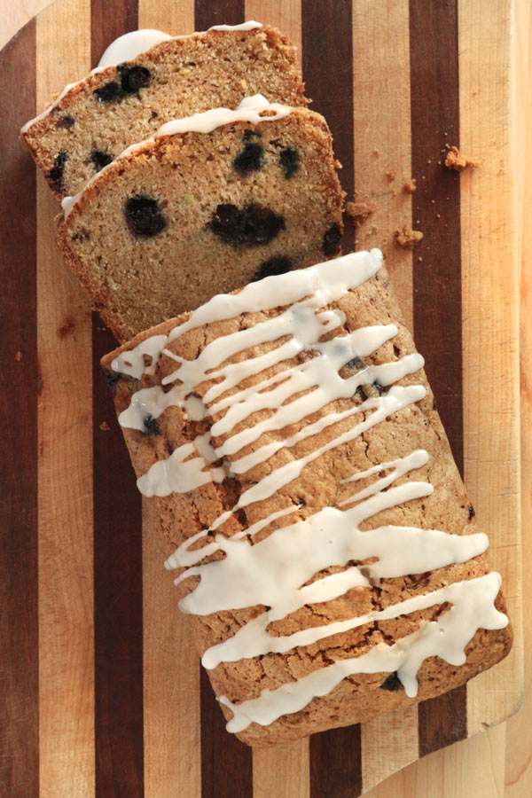 Blueberry Lemon Zucchini Bread. If you have extra zucchini from teh graden, this recipe is for you! A handful of blueberries and some lemon glaze and you have the perfect afternoon treat!