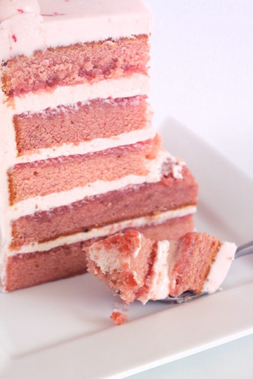 Triple Strawberry Cake with Strawberry Cream Cheese Frosting. This cake is made with all real strawberries! No artificial flavors or added J-Ello.