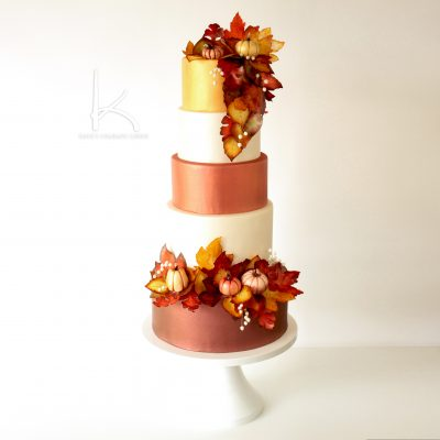 Fall Wedding Cake with Edible Leaves and Chocolate Pumpkins