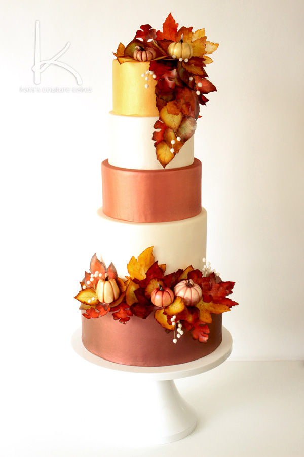 Fall wedding cake tutorial karas couture cakes the perfect wedding cake design for the fall featuring warm oranges reds golds and junglespirit Choice Image