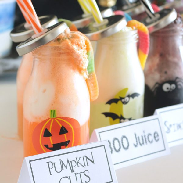 A little fizzy, and little cool cream, and a fun jug will make your next Halloween party table a spooktacular place to grab a drink!
