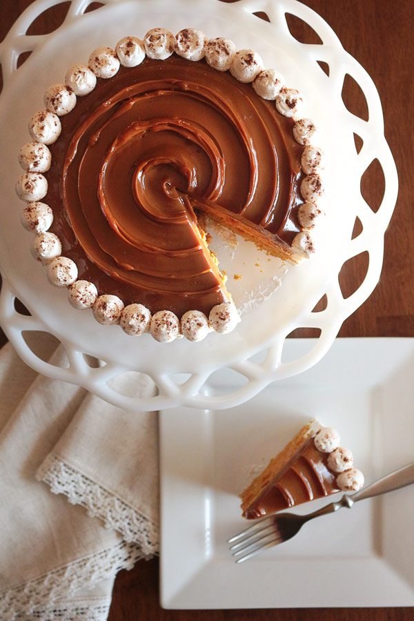 Easy Pumpkin Spice Cake with Caramel and Pie Filling