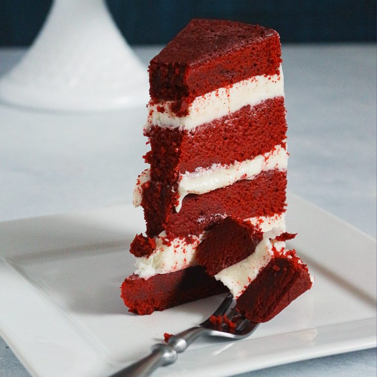 The last Red Velvet Cake recipe you'll ever need. Based on Kara's Perfect Vanilla Cake recipe and method, this is the most sinful Red Velvet ever!
