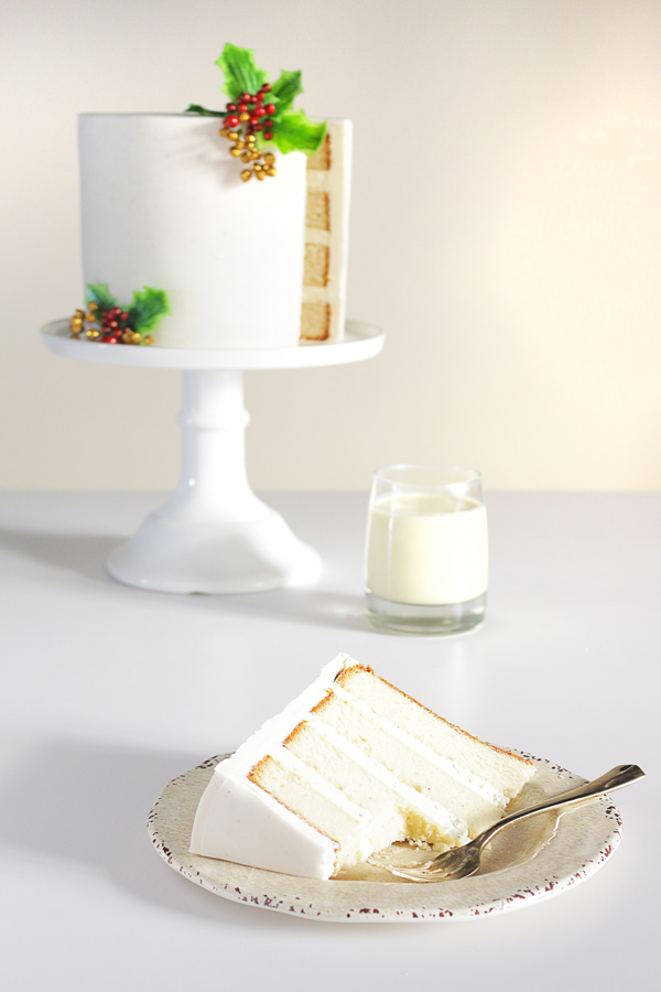 A trifecta of Eggnog recipes makes up this perfect Christmas dessert! Eggnog Fondant, Eggnog Cake, and Nutmeg Butter Buttercream.