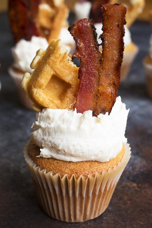 Maple Bacon Waffle Cupcake and Frosting recipe... Positively sinful, salty and sweet, and perfect for breakfast!