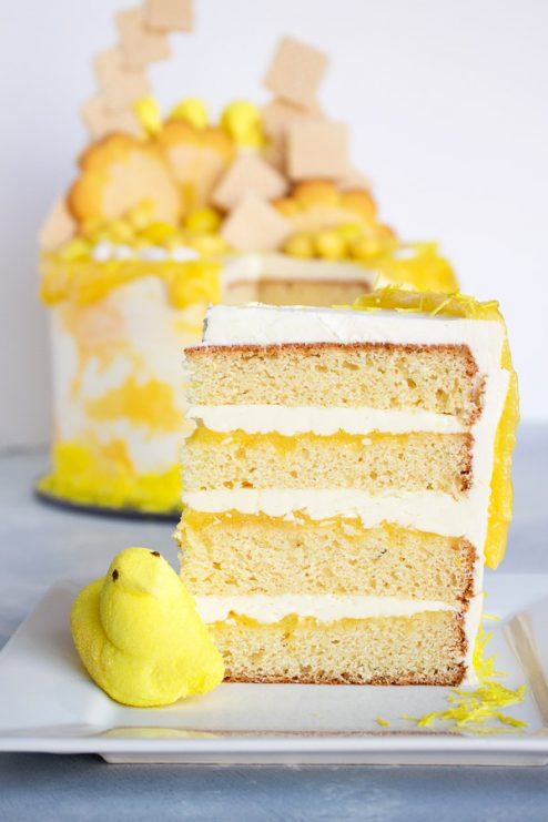 Bright, lemony, sweet goodness just in time for spring and Easter! Get this easy and impressive recipe for lemon cake, lemon curd, and lemon buttercream for your next party!