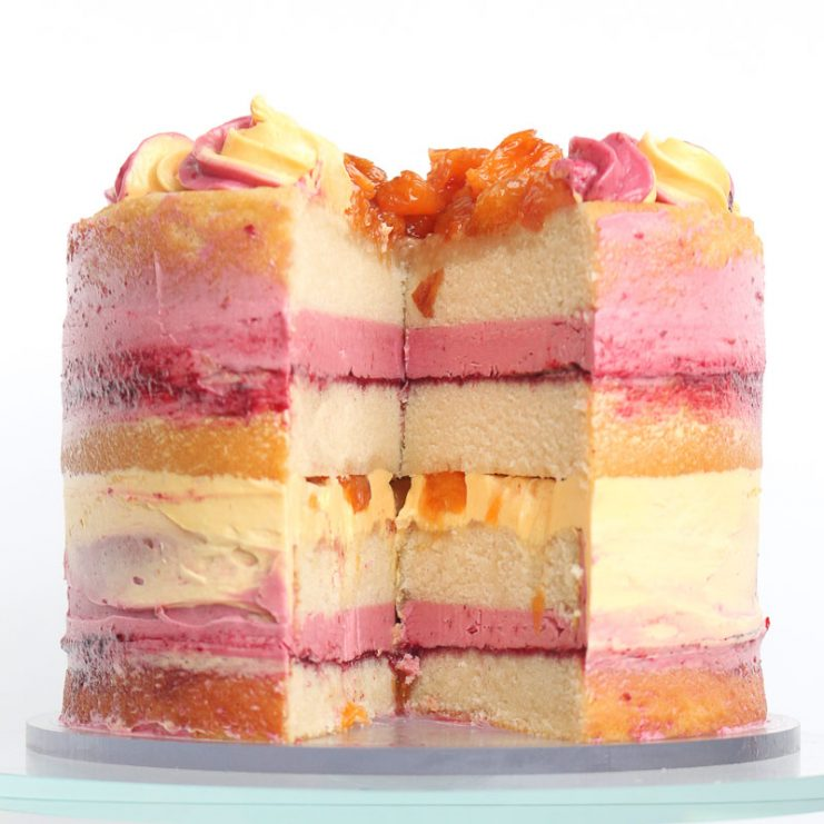 Summertime Peach Melba Cake Recipe loaded with peaches and raspberries! Swiss Meringue Buttercream packed with natural flavor. This is a cake that will impress at any picnic and make you the star of the party. Download or print the recipe now!