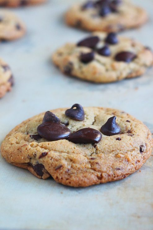 These crispy and chewy chocolate chip cookies will have you screaming for a glass of milk and the rest of the tray! Crispy, golden, caramel-y edges surround the chewy, chocolatey center. Bake this recipe today, thank me later.