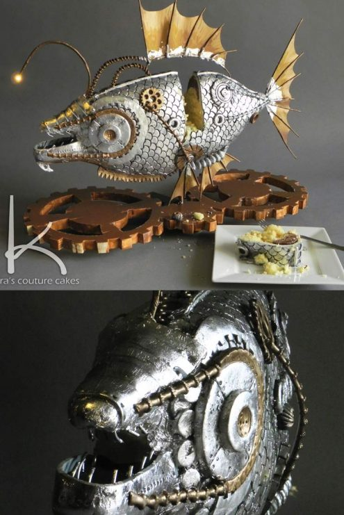Steampunk style Angler Fish Cake by Kara's Couture Cakes. Check out the details on my blog!